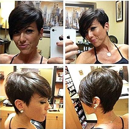 HOTKIS - Peluca corta de pelo humano para mujer, color natural se puede teñir y