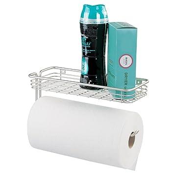 mDesign Küchenrollenhalter mit Ablage - Halter für Papierrollen und ...