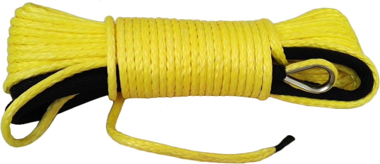 QIQU Corde c/âble synth/étique et durable pour treuil 5/mm x 15/m Jaune