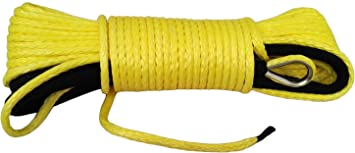 """Yellow 3//16/""""*50ft ATV Winch Line,Synthetic Winch Cable Hook,UHMWPE Winch Rope"""