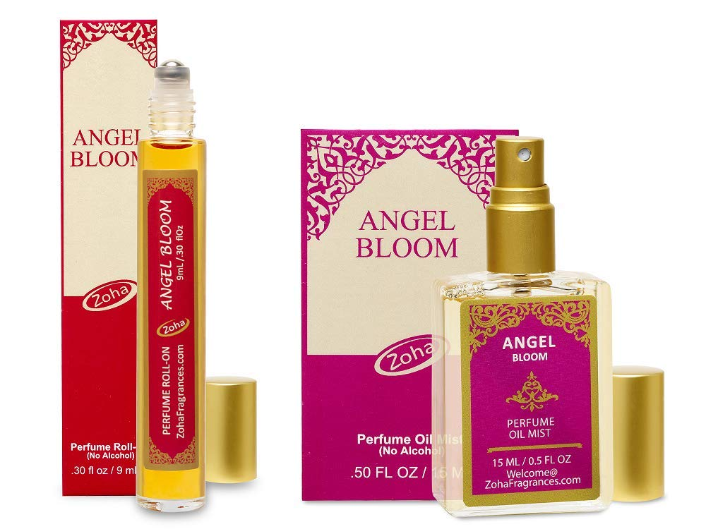 Angel Bloom Perfume Oil - Set of 9ml Roll-On and 15ml Oil Mist (no Alcohol spray) Clean Beauty Hypoallergenic Vegan Parfum for Women and Men by Zoha Fragrances
