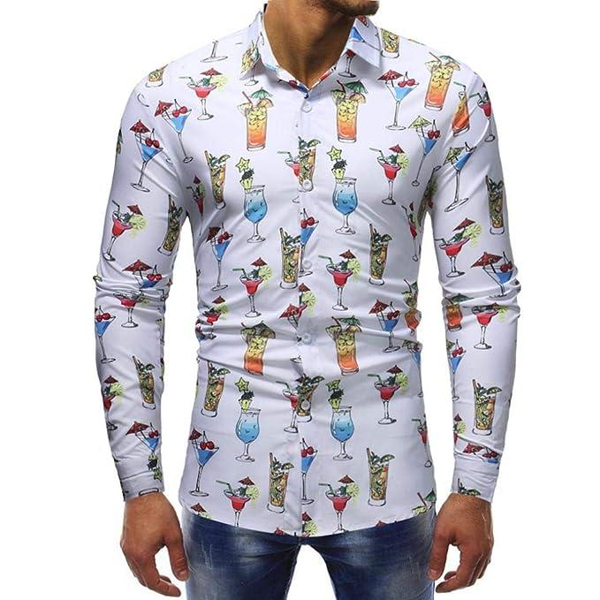 Blusas Hombre Manga Larga,Stand-Cuello Personalidad Casuales De La Moda Slim Camisa De