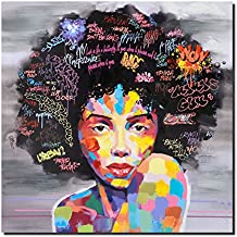 Pinetree Art African American Black Art Wall Decor Canvas Wall Art, Original Designed Pop Graffiti Style Painting on Canvas Poster Print Without Frame (16 x 20 inch, A Unframed)