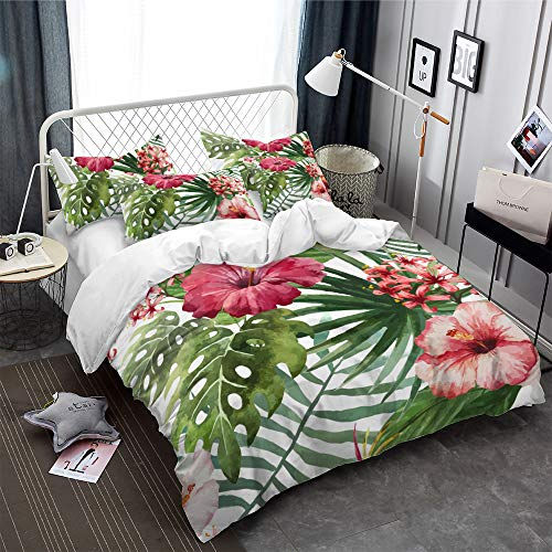 Tropical Rainforest Plant Duvet Cover Set Queen with Zipper Closure, Red Hibiscus Flower Pattern Printed Comforter Cover Bedding Sets with 2 Pillow Cases (Hibiscus,Queen)