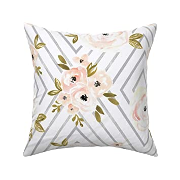 Amazon.com: Melocotón Rosa Mod Gris Floral rayas, para el ...