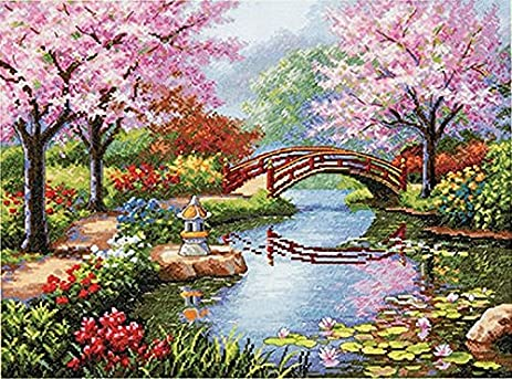 dimensions gold collection japanese garden counted cross stitch kit 16x12
