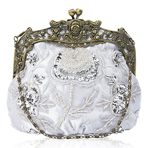 Interior Sequin Clutch Vintage Kissing Handbag Satin Beaded Evening Womens Silver Design Floral Lock H8cRq