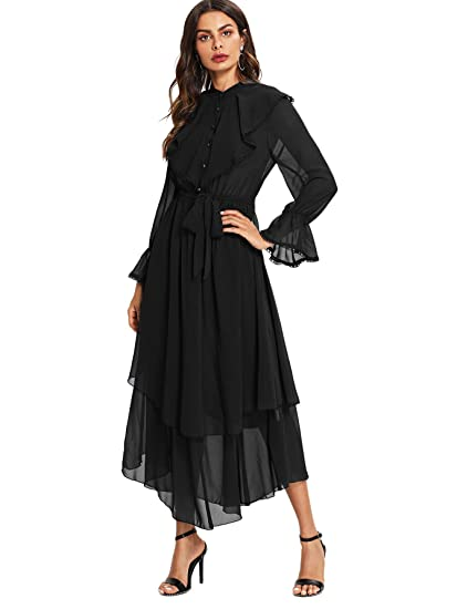 6d215adf9cd2 Milumia Women's Contrast Lace Ruffle Detail Crochet Trim Belted Tiered  Layer Flowy Maxi Dress at Amazon Women's Clothing store:
