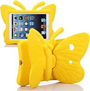 iPad Mini Case for Kids, Cute Butterfly Wing Double as Stand Light Weight Kid-Proof Durable EVA Foam Protective Tablet Bumper Cover for Apple iPad Mini 1/2/3/4 - Yellow