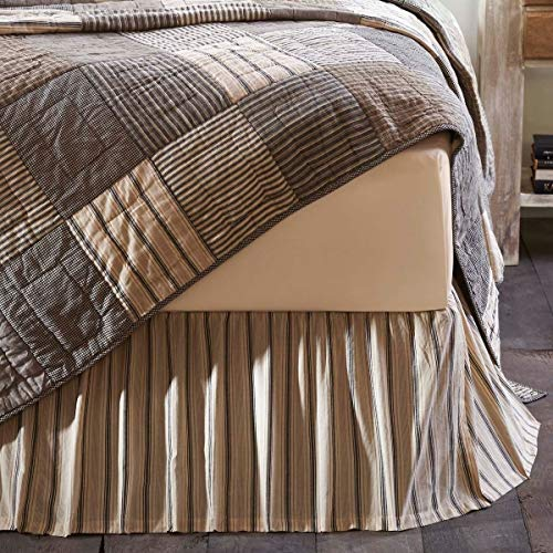 1 Piece Grey Tan Brown Stripe Pattern Bed Skirt Queen Size Vertical Lines Geometric Design Bedskirt Ruffled Bed Valance Vintage Casual Farmhouse Shabby Chic Style Features Hem Fold 16