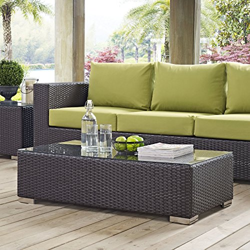 Modway Convene Wicker Rattan Outdoor Patio Coffee Table in Espresso