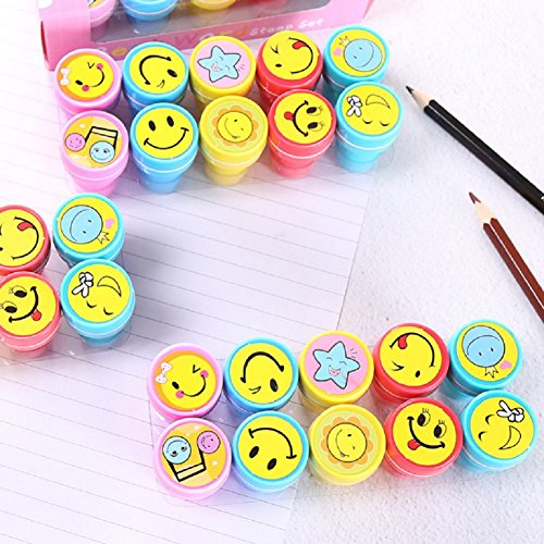 10 PCS Children's Stamp Inking Alphabet Plastic Stampers DIY Craft for Children, Party Gifts Teacher Stamps Assorted Mini Colorful Stamp