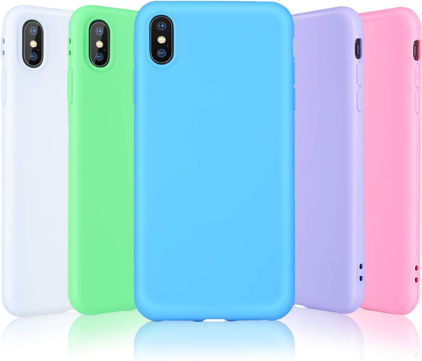 Pofesun Case for iPhone Xs Max, 5 Pack Ultra Thin Slim Soft Silicone Gel Rubber Bumper Phone Case Protective Cover Compatible for iPhone Xs Max 6.5 inch (2018) -White,Pink,Green,Purple,Blue