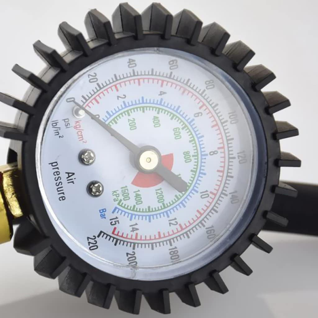 Extended Straight-on Air Chuck with 12 Inch Rubber Hose perfk Tire Inflator with Tyre Pressure Gauge