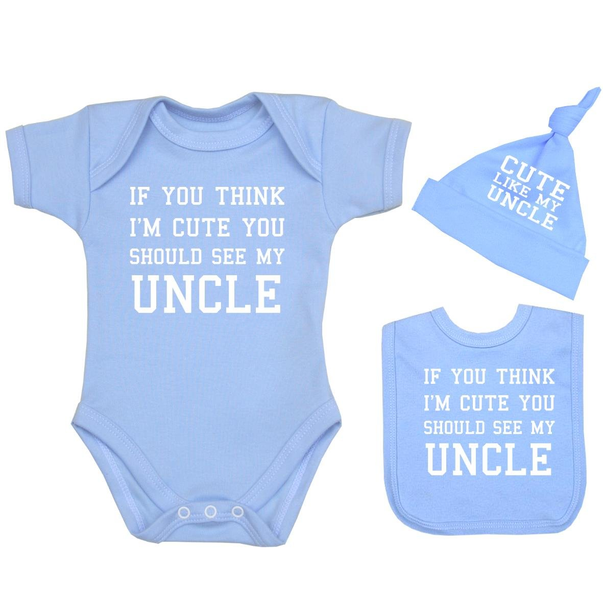 BabyPrem Baby If You Think I'm Cute See My Uncle Bodysuit Set 0-12 mth