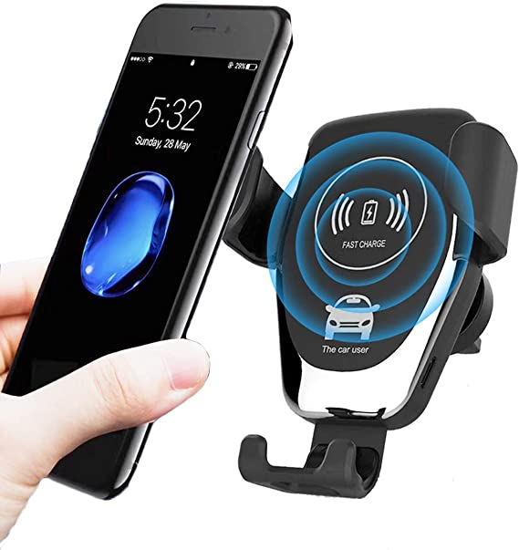 AHUTORU Wireless Car Charger,10W//7.5W Qi Fast Charging,Car Air Vent Mount Phone Holder Gravity,Compatible with iPhone Xs MAX//XS//XR//X//8//8+ Black Samsung S10//S10+//S9//S9+//S8//S8+,All Qi-Enabled Phones