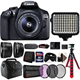 Canon EOS 1300D 18MP DSLR Camera + 18-55mm + 58mm Filter Kit + Telephoto & Wide Angle Lens + 32GB Memory Card + Wallet + Reader + Led Video Light + Case + Flexible Tripod + 3pc Cleaning Kit