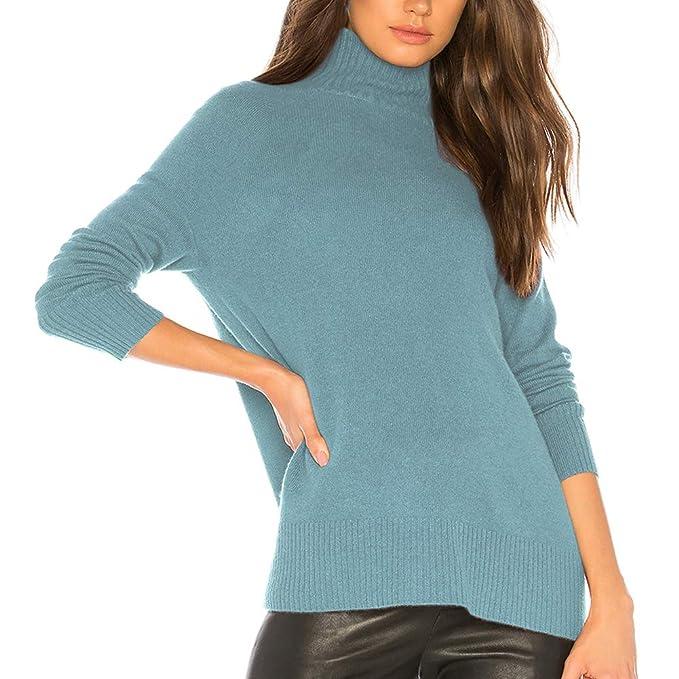 MONYRAY Maglione Accollato a Coste Maglieria Lavorato Soffice Maglioni  Dolcevita Donna Invernale Pullover Sweater Elegante  Amazon.it   Abbigliamento 5e6ef577464