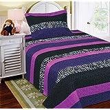 Mk Collection 2 Pc Bedspread Teens/girls Zebra Leopard Purple Pink White Black Twin Size