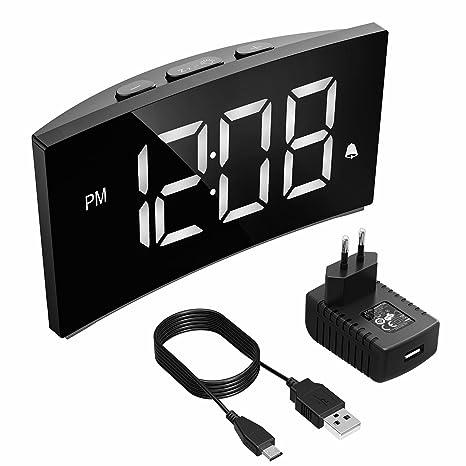 Holife Despertador Digital, Reloj Despertador Digital con Pantalla Curvada, con Enchufe de Carga, 3 Sonidos de Alarma, 6 Brillo Ajustable, Función ...