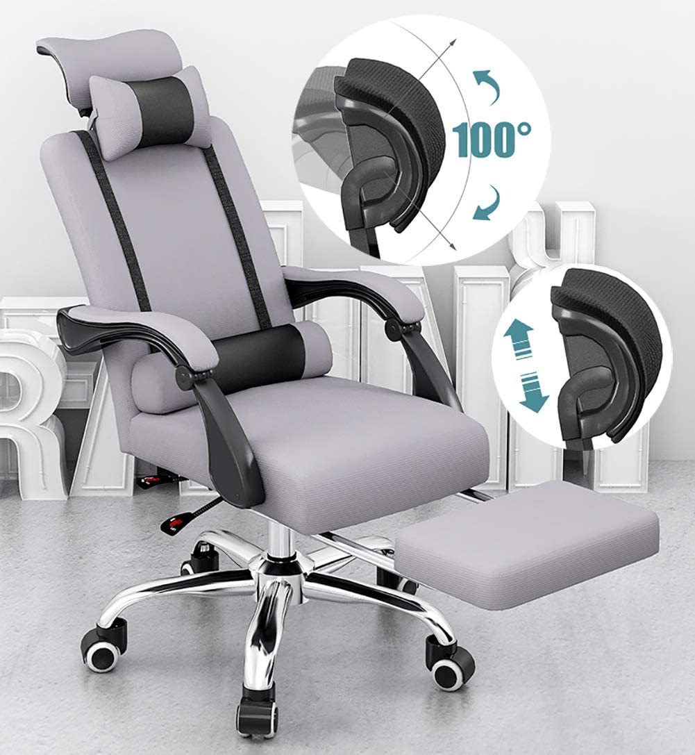 Amazon Com Executive Swivel Gaming Desk Chair Home Office Chair Computer Desk Chair With Thick Cushion Padded Adjustable Headrest And Armrests Silver Sports Outdoors