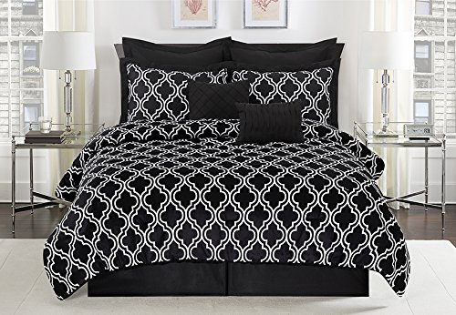Unique Home 8 Piece Maison Pinch Pleat Reversible Bed in a Bag Comforter Set Black/White (Queen