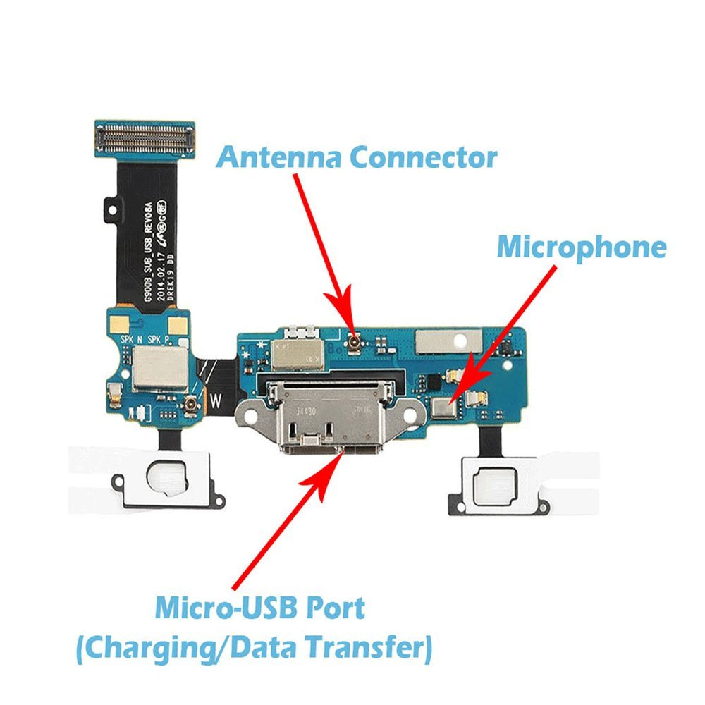 Amazon omnirepairs charging micro usb dock port flex cable with amazon omnirepairs charging micro usb dock port flex cable with microphone touch key ribbon replacement for samsung galaxy s5 g900t t mobile and sciox Image collections