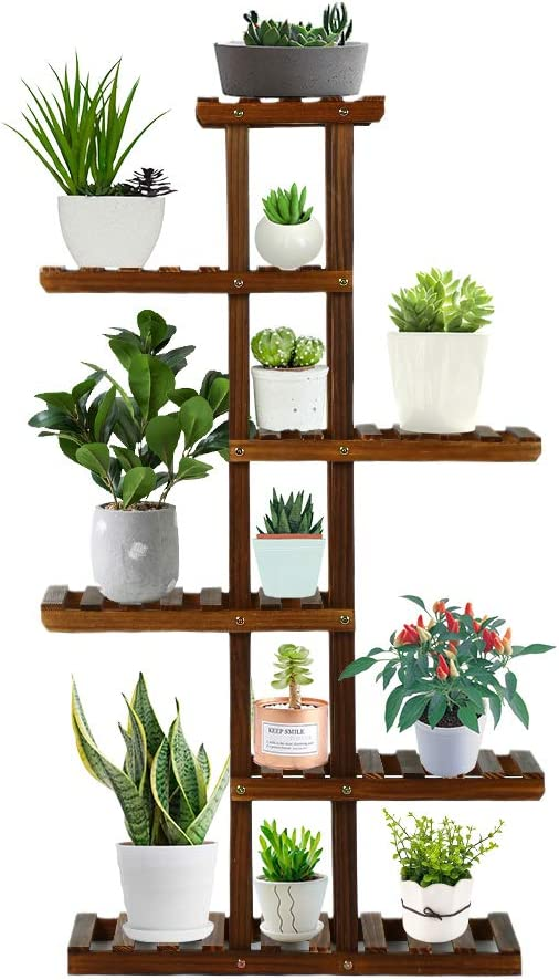 Goutime Plant Stand Multi Layer Flower Rack,Wooden Ladder Shelf for Indoor Outdoor Yard Garden Balcony Living Room (35.4 inch)