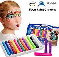 MiniKIKI Face Paint Crayons, Face Painting Kits, 12 Cols, Body Paint, Kids Face Painting, Washable Face Paint, Kids Makeup, Non Toxic Body Painting, Ideal for Halloween, Costumes, Birthday Parties
