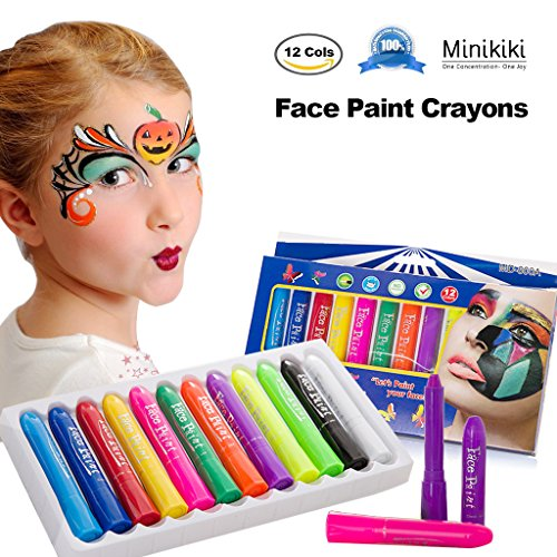 MiniKIKI Face Paint Crayons, Face Painting Kits, 12 Cols, Body Paint, Kids Face Painting, Washable Face Paint, Kids Makeup, Non Toxic Body Painting, Ideal for Christmas, Costumes, Birthday Parties (Paint Face Halloween Ideas)