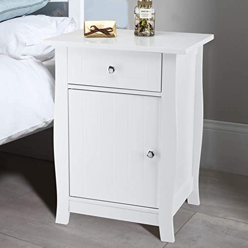 Bonnlo Nightstand Bedside End Side Table Wooden Accent Table with Drawer and Cabinet for Home, Bedroom, College Dorm, White