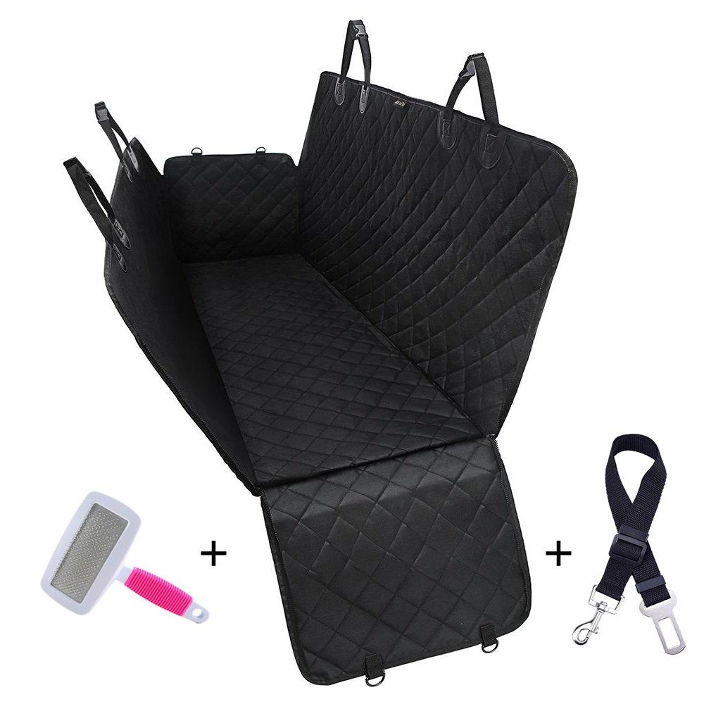 Chien Housse de siège auto, Ownmax Dog Seat Cover Car Zipper Design Tapis de bain antidérapant Style de hamac Housses de sièges de voiture de voyage avec rabats latéraux supplémentaires Ancrages réglables Protège-siège arrière arrière, attache-ceinture de