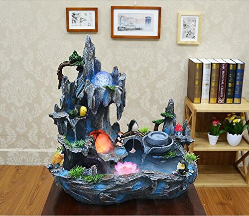 Bonsai decoration Feng Shui luck rockery and pond water fountain humidifier living room home furnishings by ZEM-PXD (Image #5)
