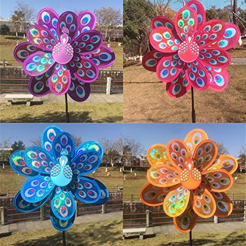 - gogil 1 PC Colorful Double Layer Peacock Laser Sequins Windmill Colorful Wind Spinner Kid Toys
