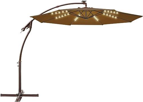 Strong Camel 10FT Offset Cantilever Patio Umbrella Outdoor Market Hanging Solar Umbrella Brown
