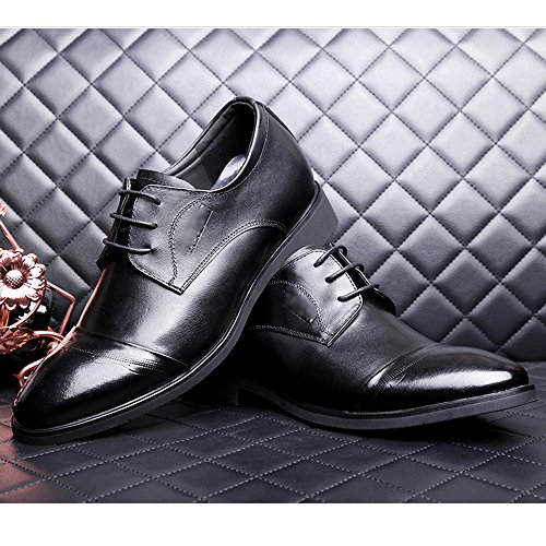 Parti Chaussures Classique Black Pointu Work Business Chaussures Soirée Uniformes Hommes Ups En Derby Oxford Dentelle Toe Mariage Cuir qBU64F
