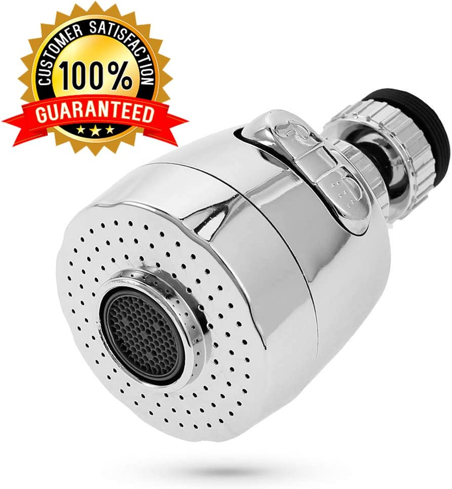 WAISSGURT Kitchen Faucet Aerator Sink Tap Sprayer Head -360 Degree Rotatable ABS Anti-Splash Faucet Sprayer Head Replacement - Sink Nozzle Attachment with 2 Modes