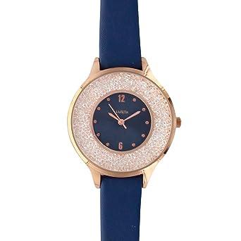 97377db64e503 Jouailla - Montre Lutetia Bleu Marine, boîtier métal doré Rose, Cadran avec  Pierres et