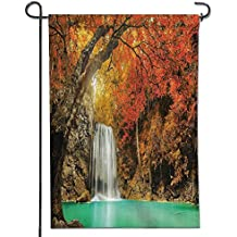 """Home Sweet Home Garden Flag eMajestic Waterfall Cascade in Forest Flows down Crystal Pure Habitat View Fabric Spring Summer Yard Outdoor Decorative-12"""" x 18"""""""