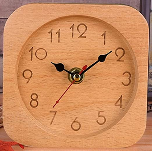 Reloj de mesa retro de madera maciza de madera silenciosa, reloj ...