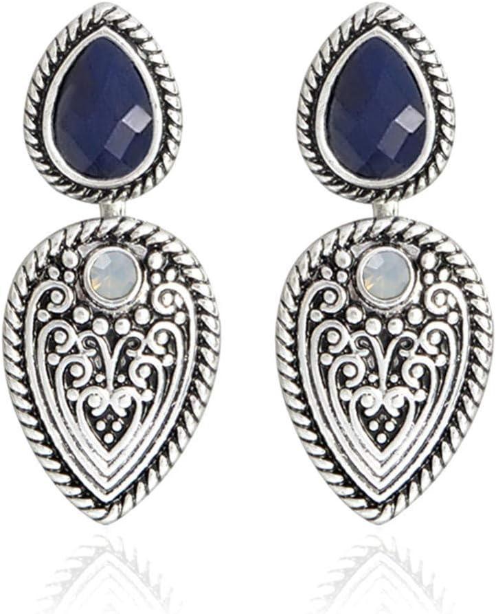 Erin Pendientes Vintage con Forma De Hoja/Pluma con Aretes De Circonita De Piedra Semipreciosa Azul para Damas