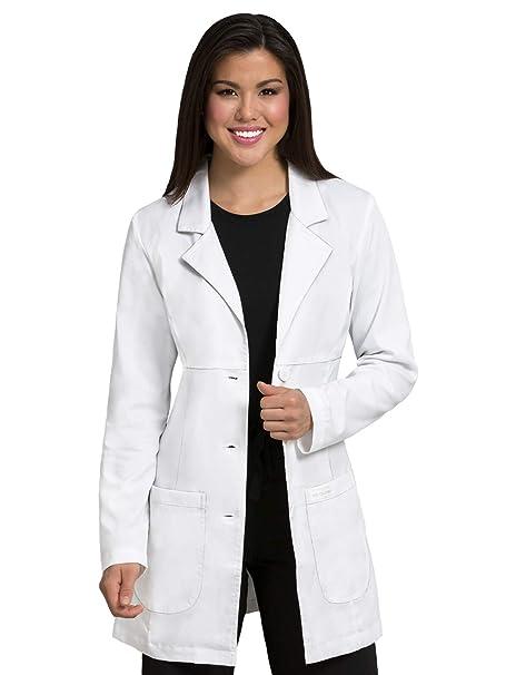 Amazon.com: MED Couture mujer blanco profesional bata de ...