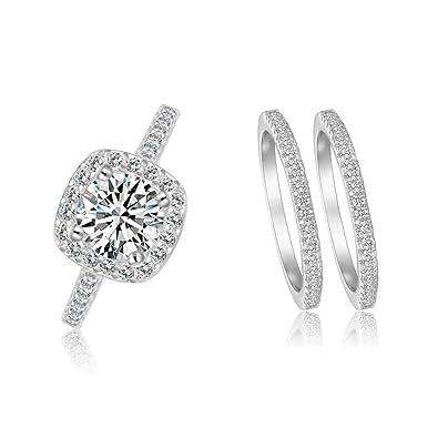 Amazon.com: Juego de 3 anillos de boda clásicos con halo y ...