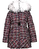 Lisa-Rella Girls' Quilted Down Coat with Real Fur Trim in Tweed Print, Sizes 6-16 (10)