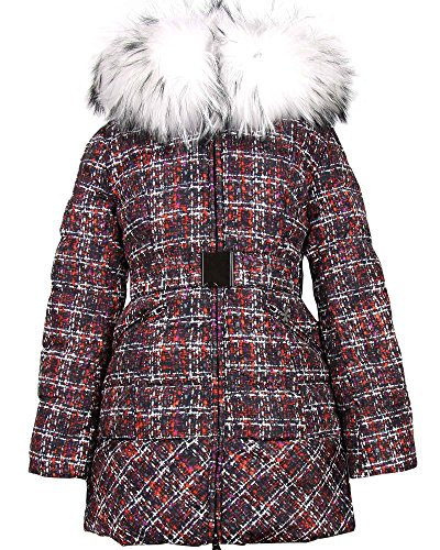 Lisa-Rella Girls' Quilted Down Coat with Real Fur Trim in Tweed Print, Sizes 6-16 (10) by Lisa-Rella