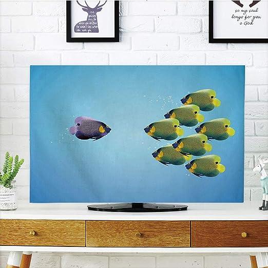 Cubierta de Polvo para televisor LCD, Acuario, Muchos Peces Diferentes en la Parte Inferior del océano Deep Water Sealife Cartoon Nature, diseño de impresión 3D Compatible con TV de 32 Pulgadas: Amazon.es: