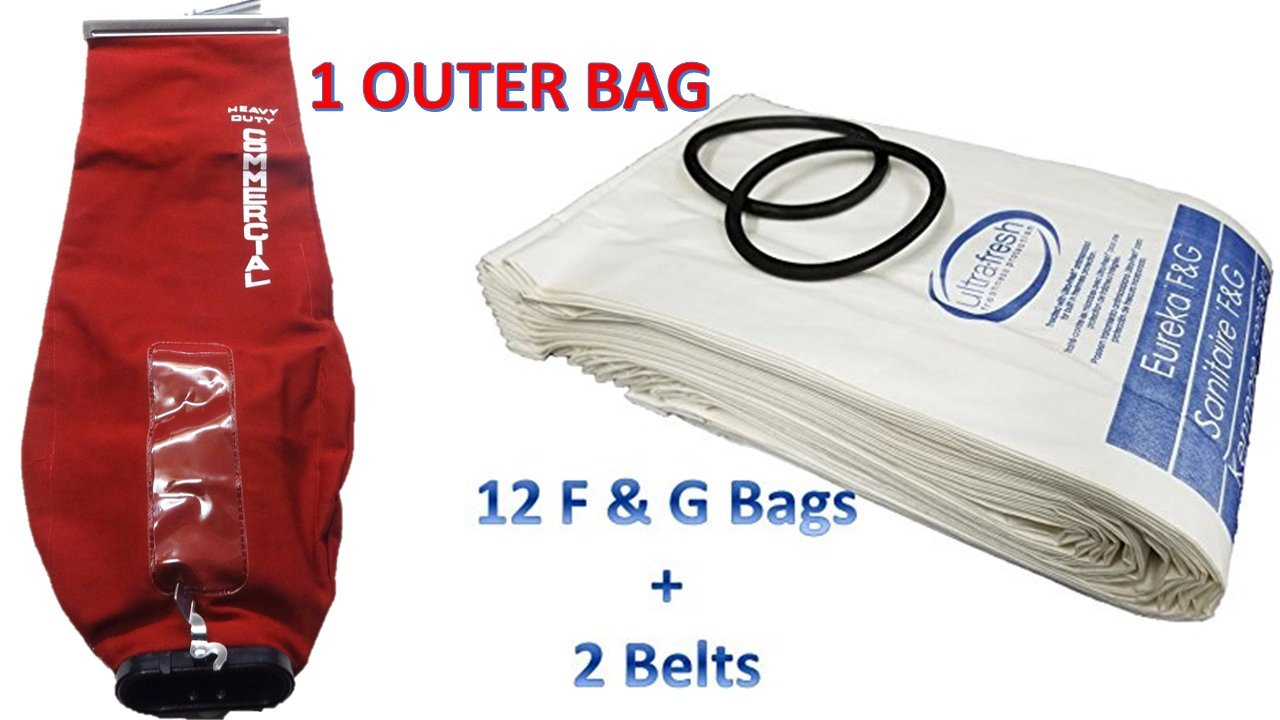 Sanitaire Professional Premium Cleaning Bundle 1 Outer Bag w/ Latch (53469-23)+ 12 Allergen Filtration Bags for Eureka Style F&G (54924C)Vacuum Cleaner F G Sanitaire Commercial + 2 Belts (52100D)