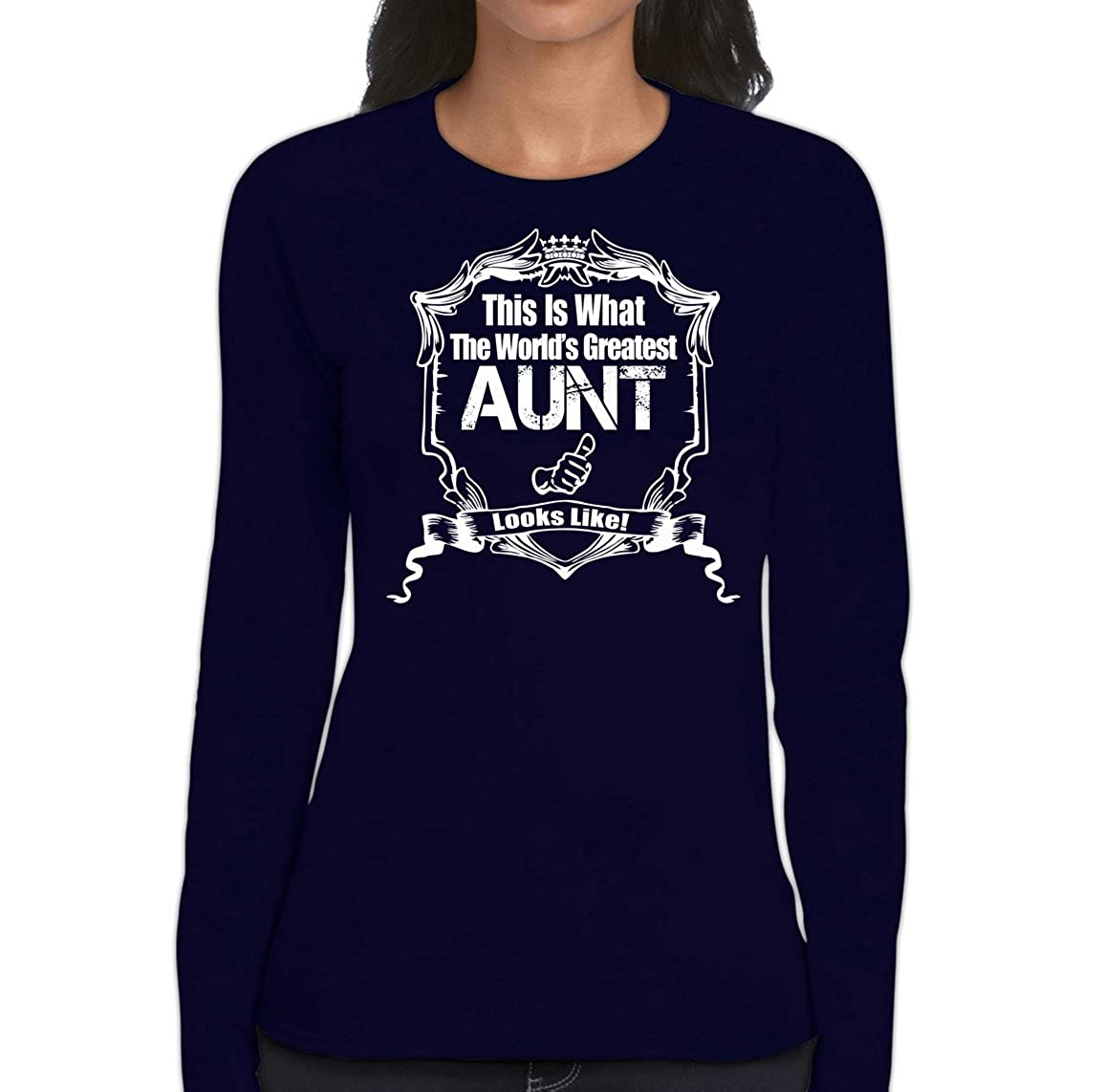 Amazon.com: AW Fashions This is What The Worlds Greatest Aunt Looks Like - Womens Long Sleeve Tee: Clothing