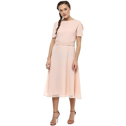 293269122b3 Femella fashions Blush Cold Shoulder Midi dress available at Amazon for  Rs.1042