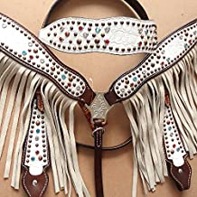 HILASON WESTERN LEATHER HORSE HEADSTALL BREAST COLLAR WHITE FLORAL BROWN FRINGES